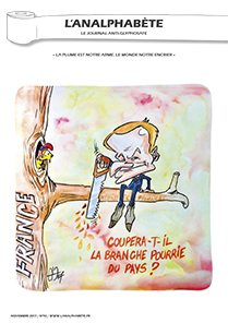 couverture n 92 novembre 2017 l'analphabète journal satirique